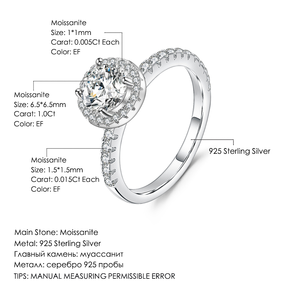 GEM'S BALLET 925 Sterling Silver 1.0Ct 6.5mm EF Color Halo Moissanite Rings with Side Stones For Women Engagement Jewelry