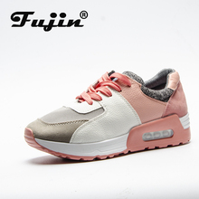 Fujin Autumn 2019 New Leather Shoes Handmade Brand Tenis Feminino Women Casual Shoes Lace Up Sneakers Fashion Shoes Flats Women недорого