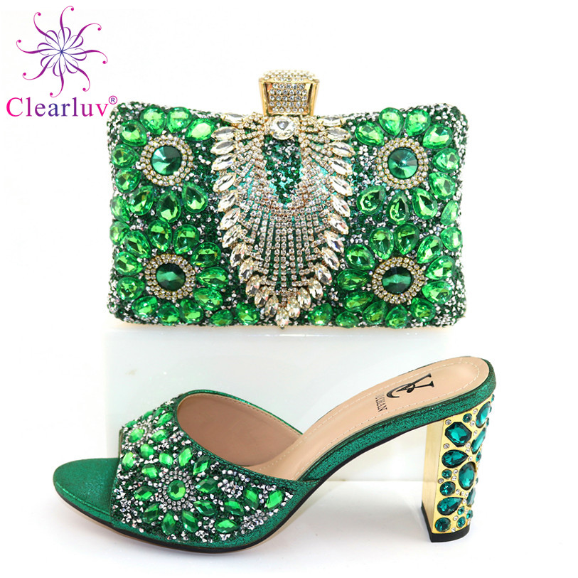 New Style Italian Wedding Shoes And Bag Set Italian Women Shoes Matching Hang Bag Special Design For Party