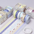 5 Rolls Scrapbooking Washi Tape Set Masking Adhesive Decorative Holiday Craft Tapes Bullet Journals Planners Gift Wrapping