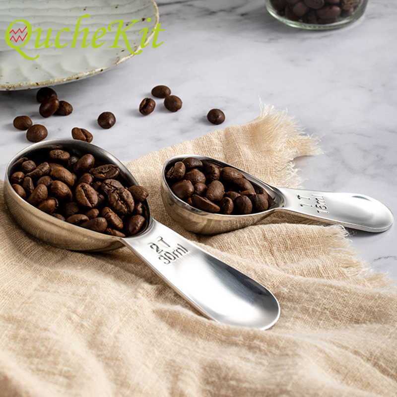 Stainless Steel with Scale Coffee Measuring Spoons Set Ground Tea Coffee Bean Powder Tamping Scoop Baking Cooking Coffee Tools