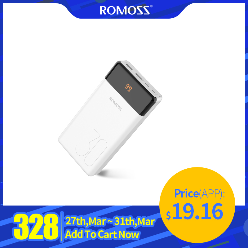 ROMOSS LT30 Phone Power Bank 30000mAh USB Type C 30000mAh Powerbank External Battery Charger Poverbank For IPhone 11 For Xiaomi