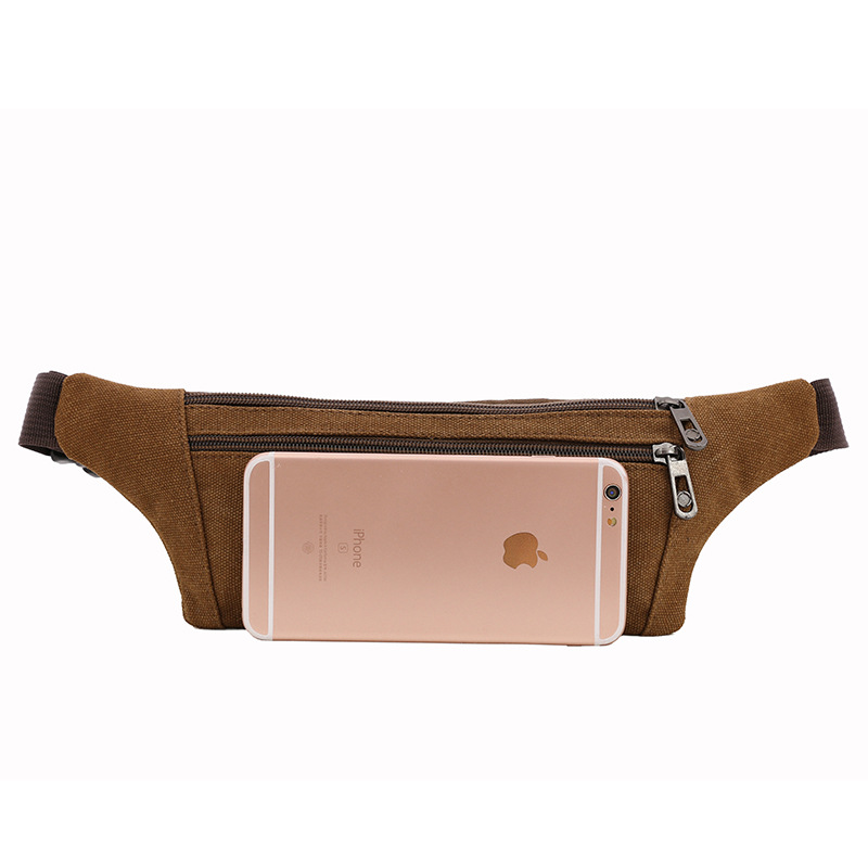 Canvas Waist Pack Men And Women Sports Waist Pack Chest Pack Korean-style Wallet Mobile Phone Bag Support Customization