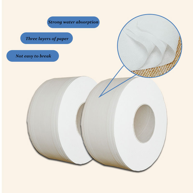 2 Roll Top Quality 3-Layer Native Wood Water Absorption Soft Jumbo Roll Toilet Paper Toilet Paper Pulp Home Rolling Paper Strong
