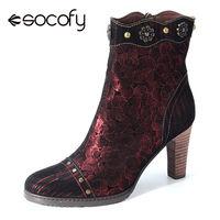 SOCOFY Retro femmes à la main couture basse bottines talon aiguille à talons hauts Zip bout pointu chaussures confortables dames douces bottines