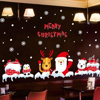 2021 Año Nuevo Navidad pegatina de pared patrón DIY pegatinas habitación restaurante puerta de cristal decoración del hogar