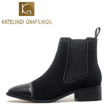 KATELVADI Size 34-40 Black Winter Boots Women New Arrival 2019 Flock Ankle For Thick Heel Slip On Ladies Shoes K-525