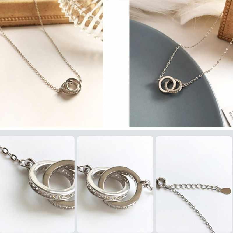 Collier femmes clavicule chaîne alliage mode Double bague diamant pendentif bijoux femmes collier approprié fête vêtement quotidien