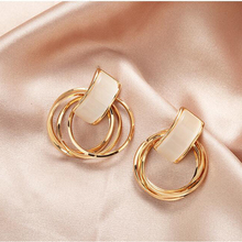 Vintage Hollow-out Multilayer Circle Geometric Stud Earrings For Women Fashion Jewelry Accessories Girl Gift Cute Opal Earrings vintage hollow out pattern spiral stud earrings