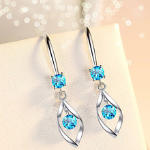 Blue Pink White Crystal 925 Sterling Silver Earrings For Women Fashion Female Jewelry New 2020