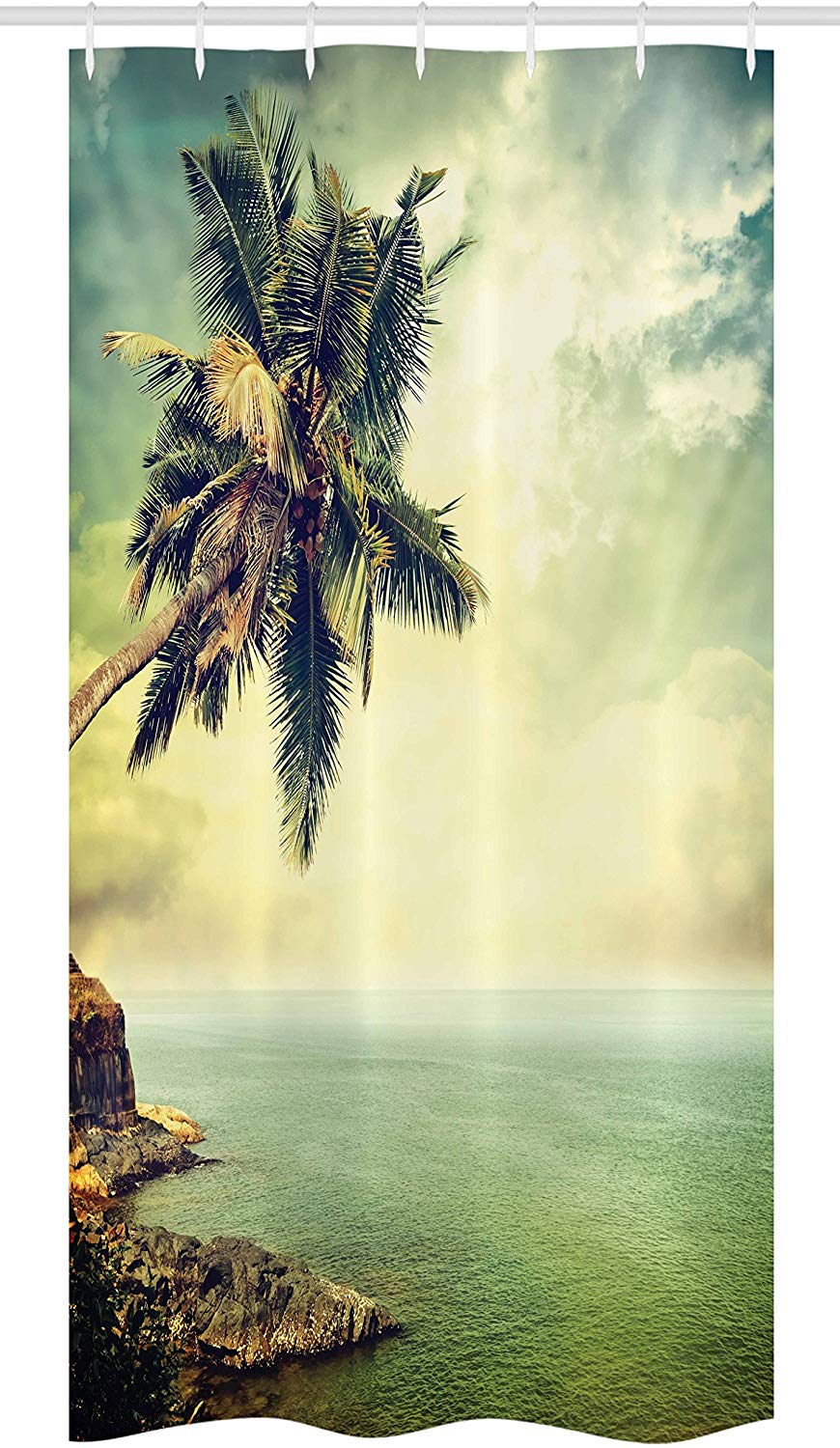 Hawaiian Stall Shower Curtain Palm Tree Rocky Shore Caribbean Mist Traveling Resort Scenic Fabric Bathroom Decor Set with Hooks image