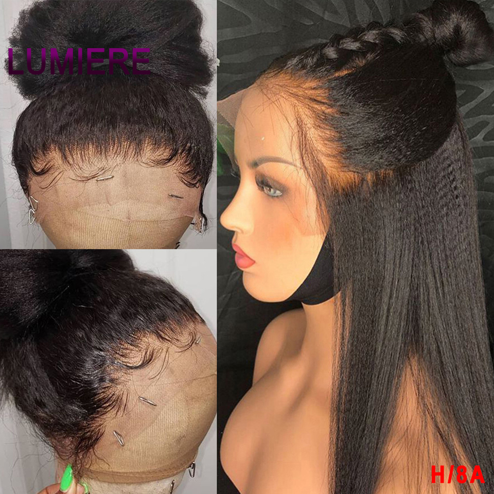 Kinky Straight Wig 360 Lace Frontal Wig Brazilian Remy Human Hair Wigs For Black Women Yaki Striaght Pre Plucked With Baby Hair
