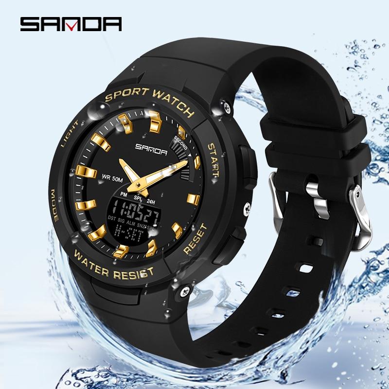 SANDA-montres pour hommes et femmes, montre de luxe, résistance, compte à rebours de Sport, étanche 50M, pour garçons et filles 4