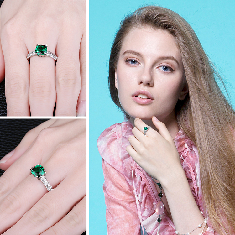 H269841db964640cc89d5544ee5ab2d9as JewelryPalace Cushion Created Nano Emerald Ring 925 Sterling Silver Rings for Women Engagement Ring Silver 925 Gemstones Jewelry