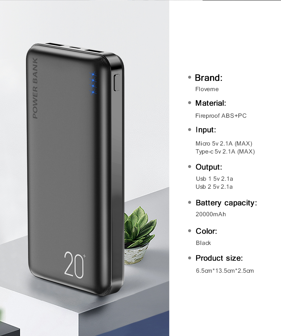 FLOVEME Portable Power Bank With 20000mAh External Battery For iPhone 14