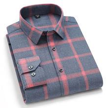 Camicia Casual scozzese da uomo a manica lunga nuova moda calda confortevole moda morbida autunno primavera camicia a quadri spazzolata Regular Fit