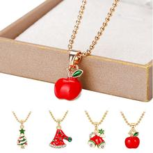 Christmas Necklace Hat Apple Bell Trees Pendant For Kids Gift