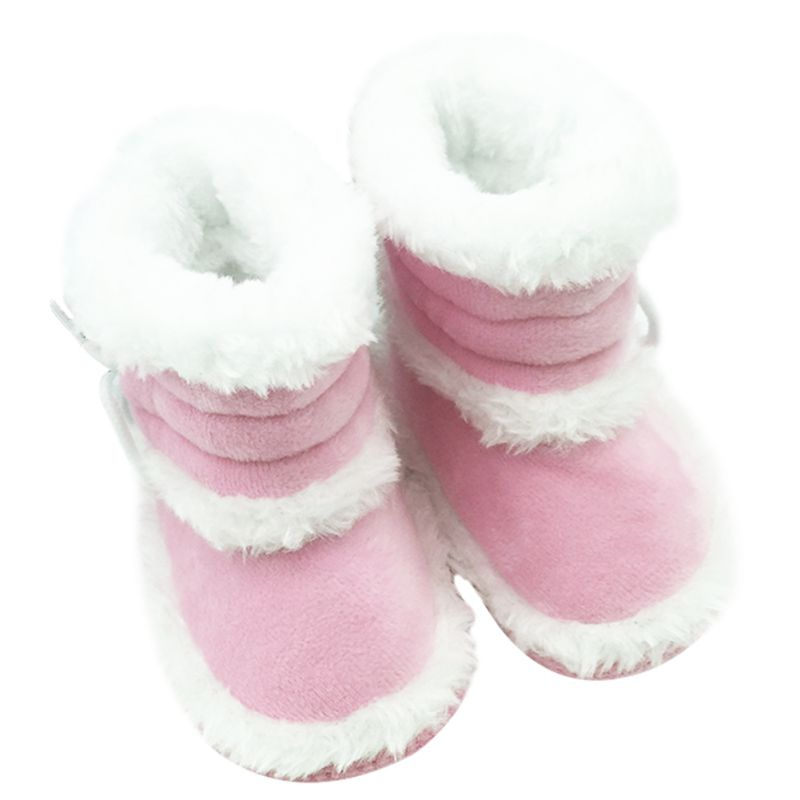 0-18 Months Winter Baby Girls Snow Boots Infant Solid Lace Up Shoes Prewalker Anti-slip Boots