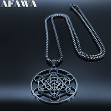 Yoga Hindu Buddhism Flower of Life Stainless Steel Statement Necklace Women/Men Black Color Long Jewelry collares 19426