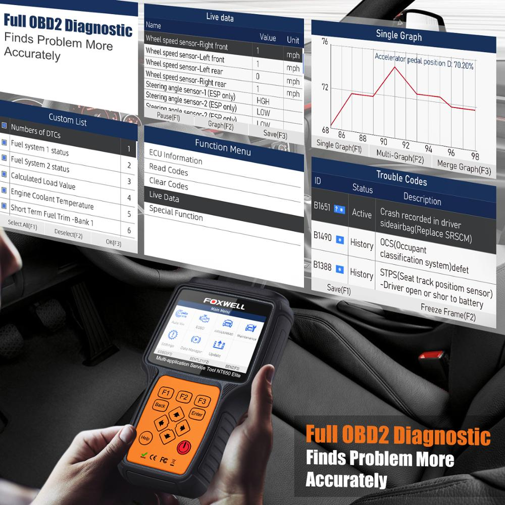FOXWELL NT650 Elite OBD2 Automotive Scanner ABS SRS SAS DPF Oil Reset Code Reader 2