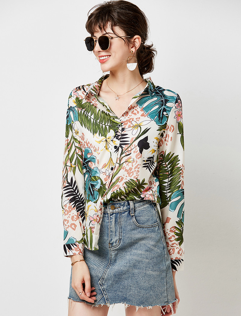 Women Blouses 19 Vintage Floral Print Long Sleeve Elegant Blouse Turn Down Collar Casual Loose Office Shirt Plus Size Blusas 8