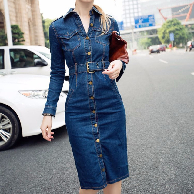 Slim Jeans Mid-Cuff Dress With Belt for Women