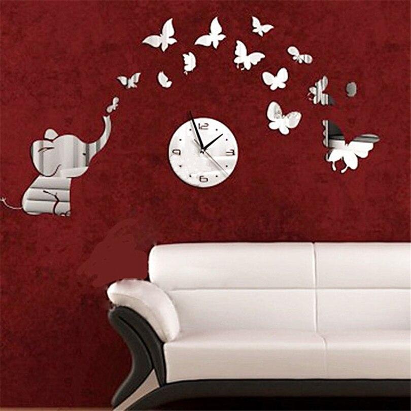 3D Crystal Mirror Wall Clock Elephants Butterflies Mordern Luxury DIY Removable Wall Sticker Living Room Bedroom Decor J30