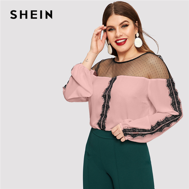SHEIN Dot Contrast Mesh Lace Insert Colorblock Top Plus Size Elegant Blouses 2019 Women Spring Bishop Sleeve Top Blouse 4