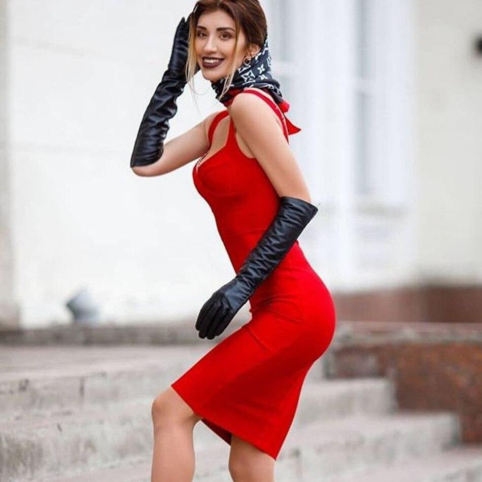 Image 3 - 2019 Autumn New Fashion Blue Red Sleeveless Strap Bandage Dress  Knee Long Sexy Party Dress Tight Dress WholesaleDresses   -