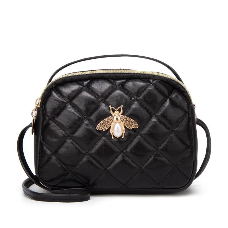 Bee Shoulder Bag Diamond Lattice Case Women Crossbody Phone Package-Style Small Shell Zipper Handbag Black Lady Purse