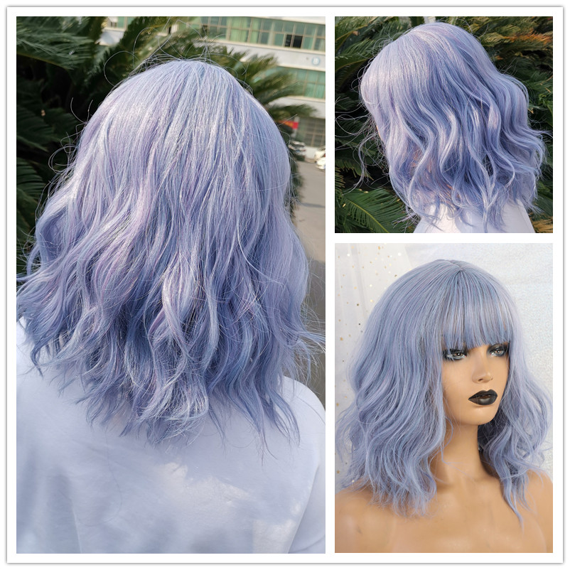 TINY LANA Short Wave Synthetic Hair Wig With Bangs Blue Heat Resistant Fiber Wigs For Black Women African American Party Cosplay