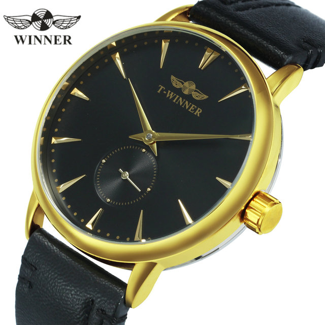 WINNER Official Fashion Casual Mechanical Watch Men Leather Strap Ultra Thin Dial Concise Golden Mens Watches Top Brand Luxury