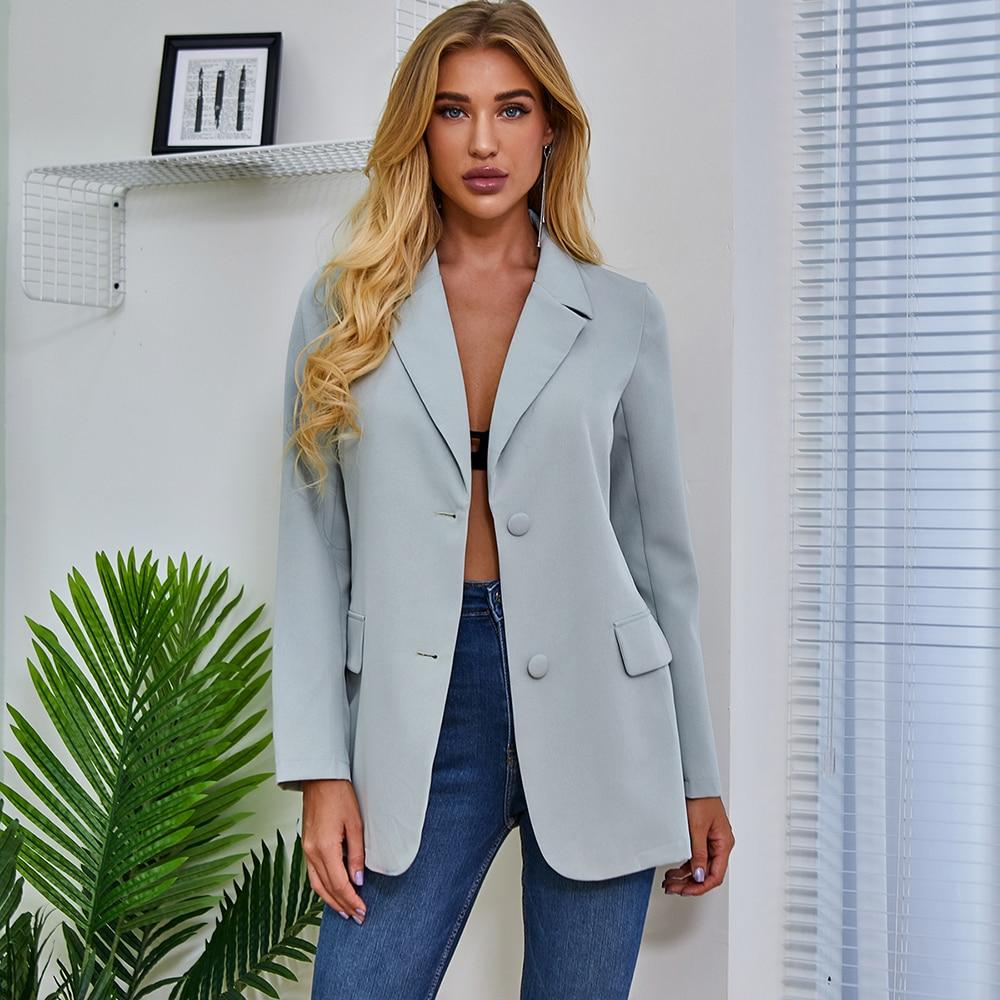 Single Breasted Blazer Women Long Sleeve Blazer Spring Autumn Elegant Fashion Solid Color Low-cut Lapel Neck Slim Fit Coat Tops