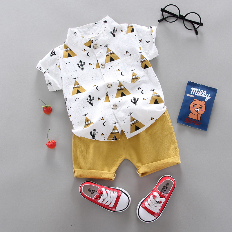 summer Children's suit Clothes Sets  children's clothing  Boys and girls Short sleeve shirt and Pants 2 pieces Clothing sets 3