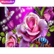 MomoArt Diamond Embroidery Cross Stitch Floral Painting With Diamonds Picture Of Rhinestones Mosaic Flowers Home Decor