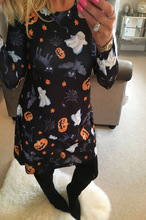 halloween sexy dress pumpkin print plus size women casual dresses 2019 fall holiday vintage print club clothes long sleeve цена