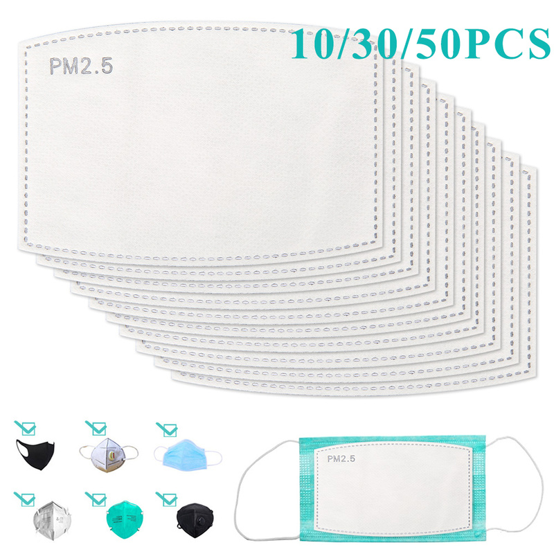 10/30/50PCS Disposable Mask Pad 5 Layer Masks Filter Replacement Filtering Breathable Pad