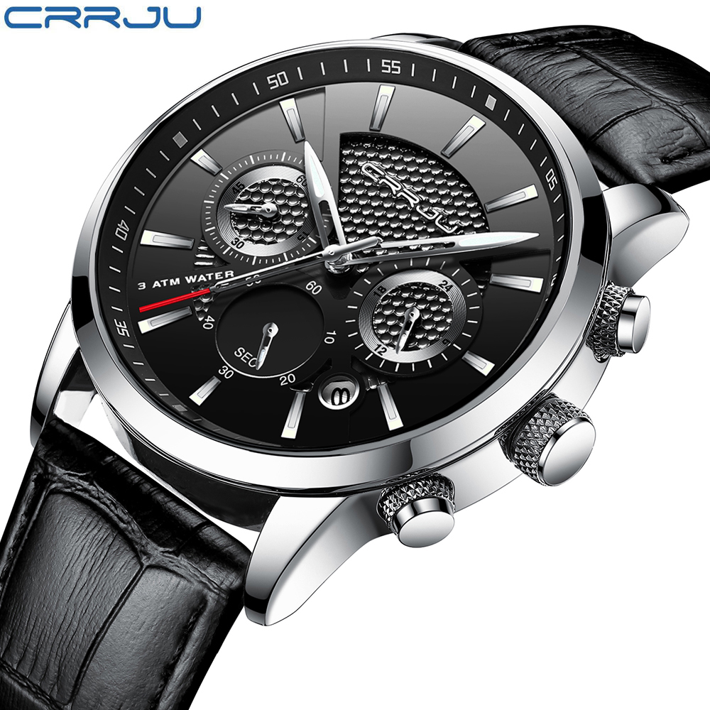 CRRJU, nuevos relojes de moda para hombre, relojes de pulsera analógicos de cuarzo, cronógrafo resistente al agua de 30M, reloj deportivo con fecha Relojes De Correa De Cuero para hombre 8