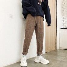 Зимнее утепленное шерстяное брюки мужские модные повседневные клетчатые брюки в стиле ретро мужские уличные широкие прямые брюки в стиле хип-хоп