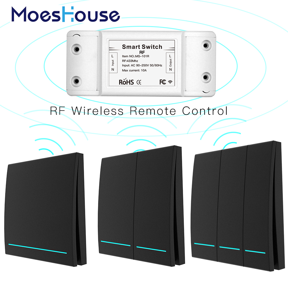433Mhz Wireless Smart Switch RF Remote Control Receiver Push Button Controller Wall Panel Transmitter,2 Way/3 Way Multi-Control