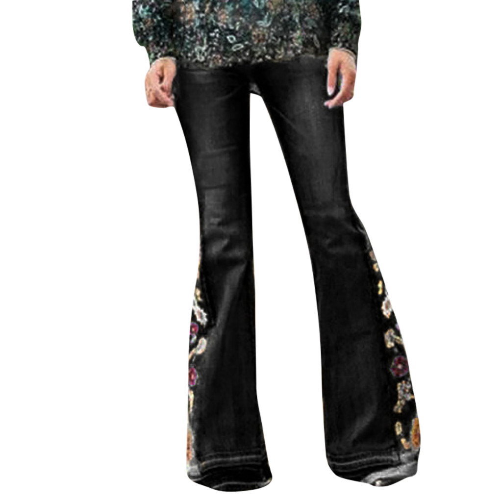 Lady High Waisted Skinny Jeans Woman Casual Vintage Stretch Slim Pants Embroidery Boot Cut Pant Length Jeans Spodnie Damskie