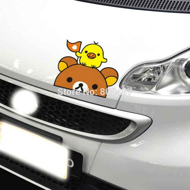 ใหม่ล่าสุดตลกการ์ตูนน่ารักหมี Rilakkuma ไก่รถสติกเกอร์สำหรับ Tesla Toyota VW Toyota Chevrolet Honda Ford Audi Fiat Benz