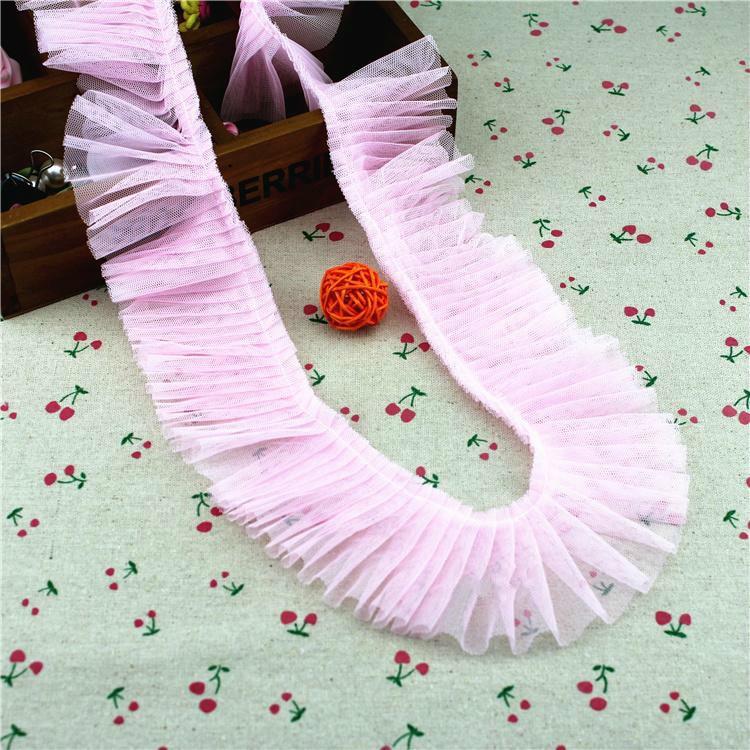 6cm Wide Mesh School Organ Pleated Tulle Lace Ribbon DIY Dress Skirt Trimming Fabric Falda De Ropa De Encaje Dentelle Decoration