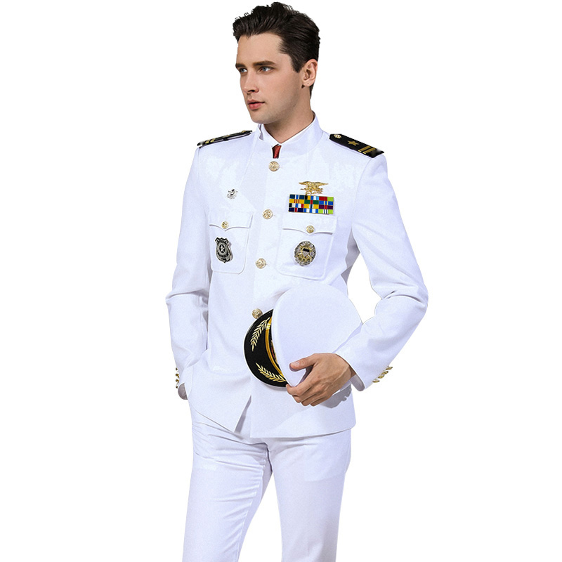 US Standard marine uniforme blanc militaire vêtements hommes amérique marine tenue formelle blanc militaire costumes chapeau + veste + pantalon