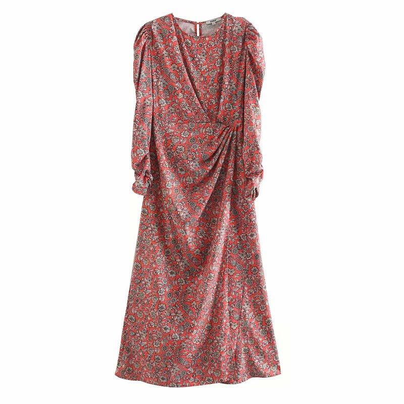 New women elegant o neck long sleeve print pleats slim long dress female flower pattern vestidos chic leisure dresses DS3424