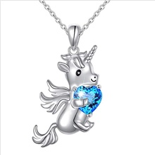 Unicorn Necklace Hug Heart-shaped Pendant Cute Necklace Women Fashion Jewelry Clothing Accessories lklrywbd popular color unicorn necklace unicorn round pendant necklace
