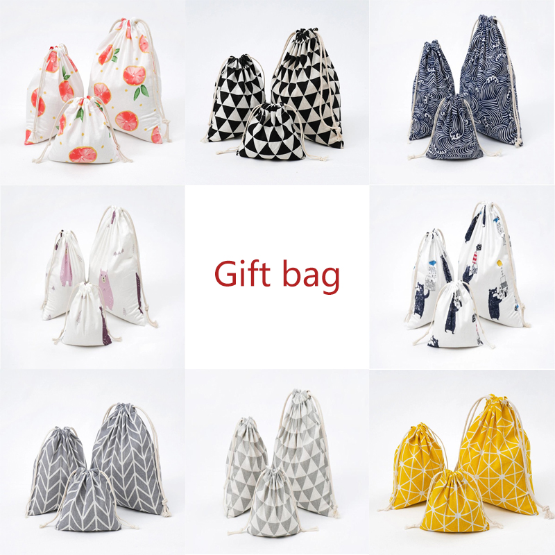 Pastoral Style Creative Printed Cotton Linen Shopping Bag With Drawstring Travel Shoe Storage Organizer Eco Grocery Bag Pouch