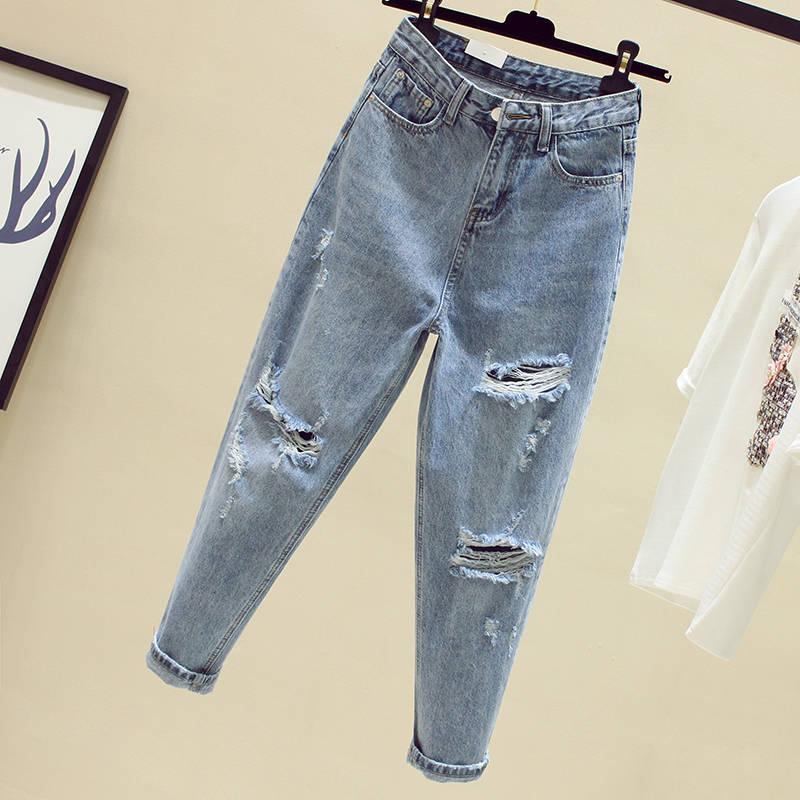 Ff1003 2019 New Autumn Winter Women Fashion Casual Denim Pants Boyfriend Hole Ripped Jeans For Women High Waist Jeans