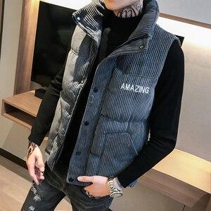 Image 5 - Mens Thicken Waistcoat Corduroy Sleeveless Jacket Men Turtleneck Cotton Padded Warm Coats Letter Logo Slim Fit Winter Vest Men