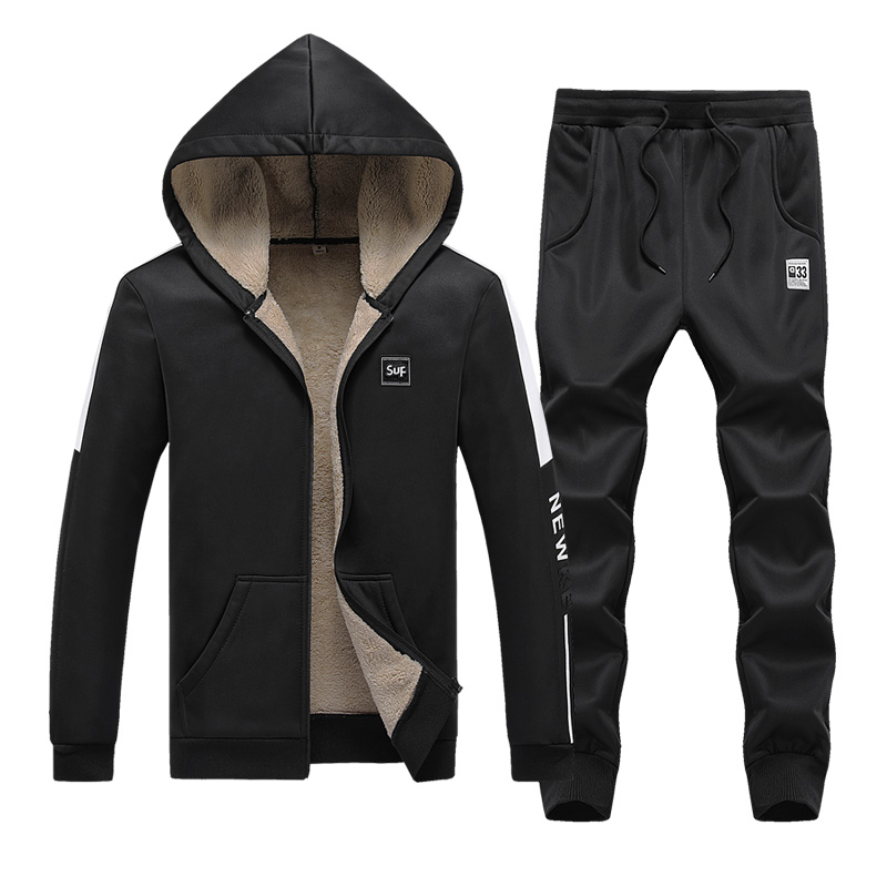 Mens Fleece Warm Tracksuit Set Winter Men Sweat Suits Casual Sportwear Suits Jacket+Pants Thick Slim Fit Sets,ZA307